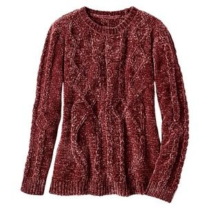 Coldwater Creek Chenille Cable Sweater Spice L